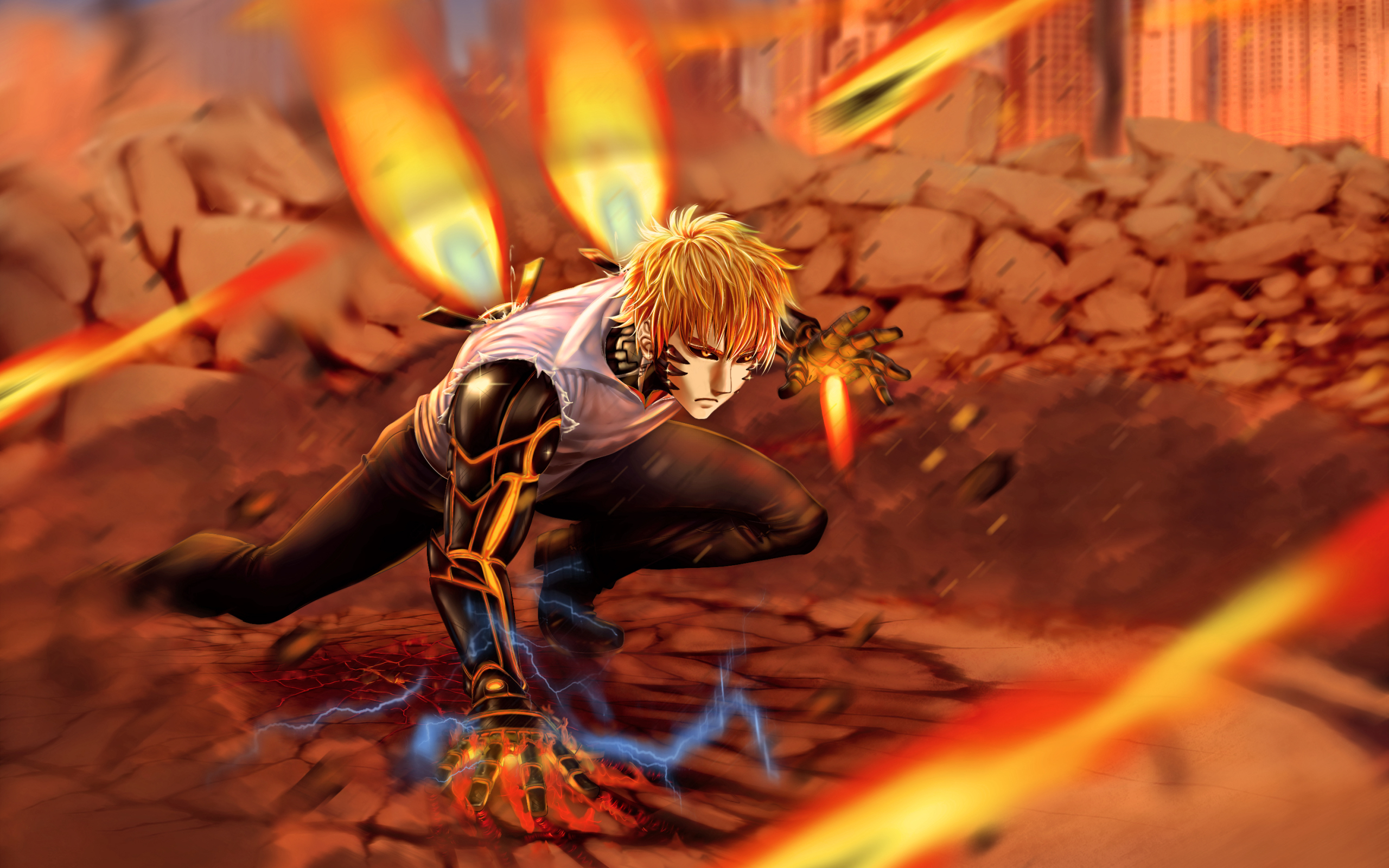 Wallpaper Of Anime Blonde Cyborg Genos One Punch Man