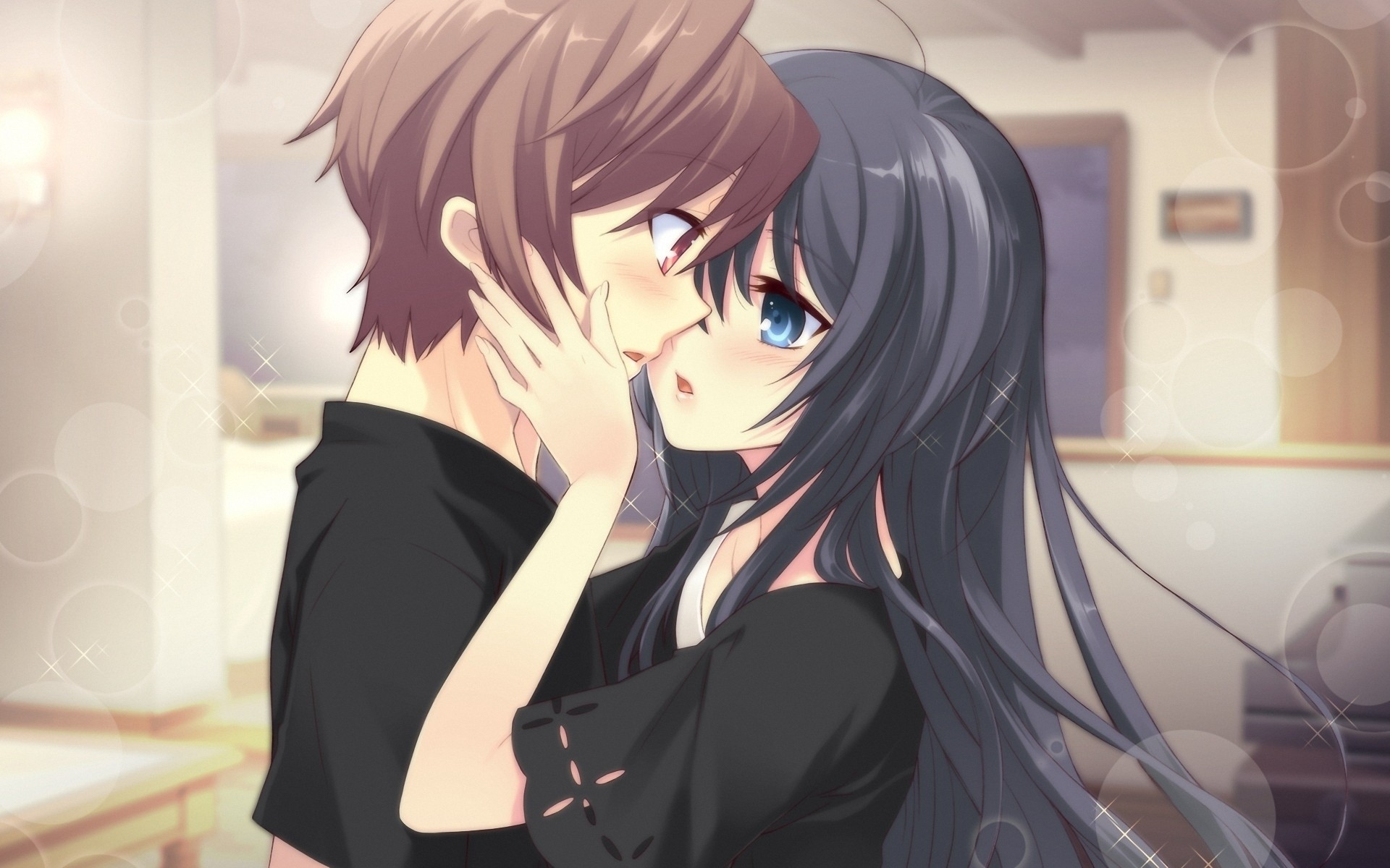 Hd wallpaper kiss gentle confusion anime