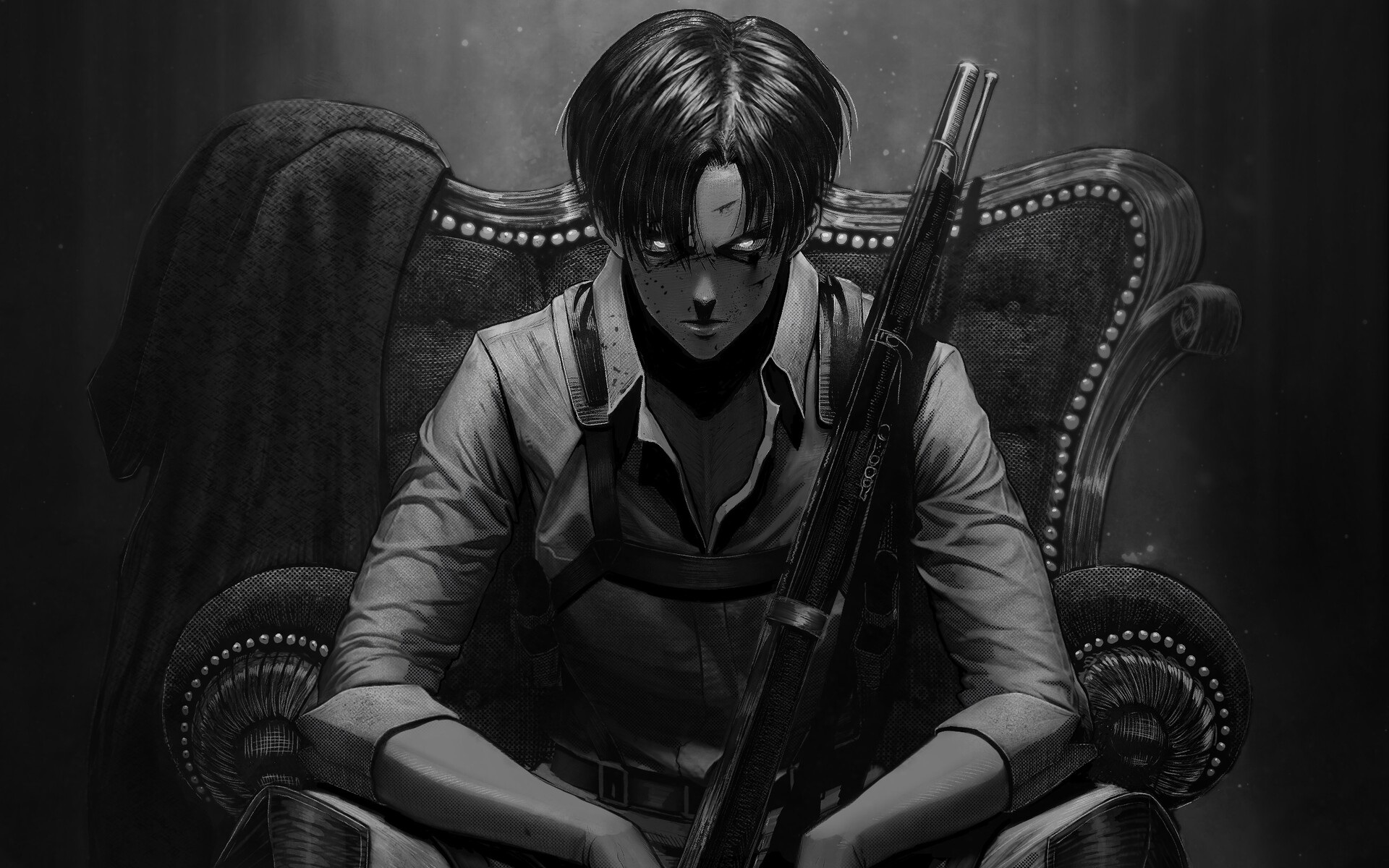 Wallpaper of Anime, Levi Ackerman, Gun, Attack on Titan ...