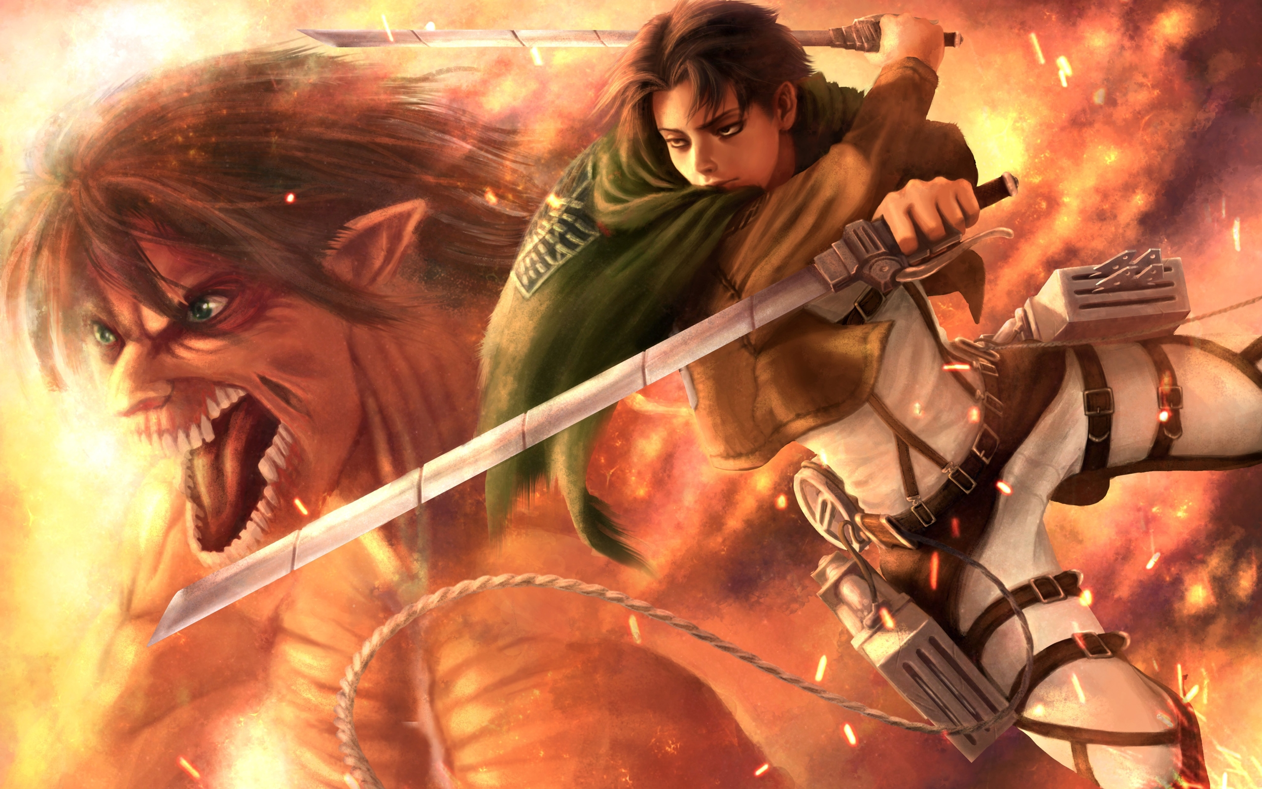 Wallpaper Of Eren Yeager Levi Ackerman Anime Attack On Titan