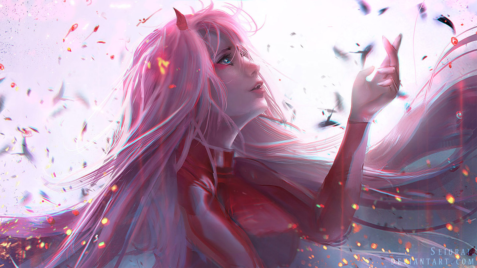 Wallpaper Of Darling In The Franxx Zero Two Anime Art