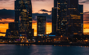 Смотреть обои Skyscrapers, Night, City, Sunset, Buildings