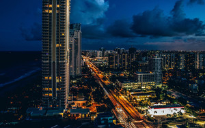 Смотреть обои Sunny Isles Beach, Skycrapers, USA, Night