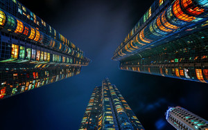 Смотреть обои Skyscrappers, Lights, Night
