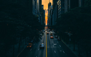 Смотреть обои Road, Traffic, Skyscrapers, Manhattan, New York
