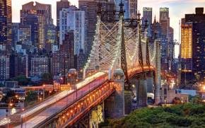 Смотреть обои Queensboro Bridge, East River, New York