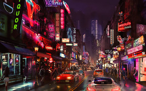 Preview wallpaper city,  night, art, fantasy