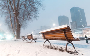 Preview wallpaper Bench, Earth, Snow, Winter