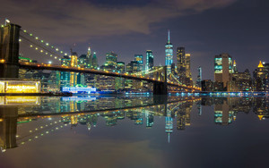 Preview wallpaper bridge, new york,night, reflection, usa