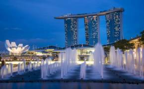 Смотреть обои Gardens By the Bay ночью в Сингапуре