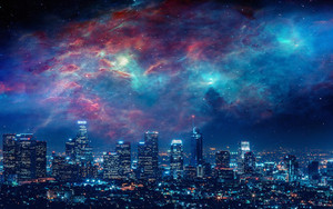 Preview wallpaper Artistic, City, Los Angeles, Nebula, Night, Sky