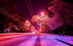 Preview wallpaper of City, Winter, Photoshop, Road, Snow