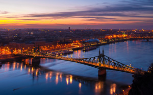 Смотреть обои Budapest, Hungary, Night city, Bridge, Lights
