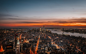 Смотреть обои NY, Night City, Skyline, Sky, Dusk, Sunset