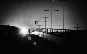 Preview wallpaper of Cyclist, Bridge, Silhouette, Night