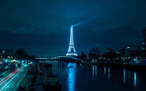 Смотреть обои Paris, Eiffel Tower, Night City, River, Bridge