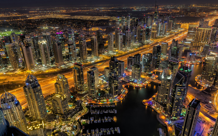 HD Wallpaper City, Dubai, Night, Skyscrapers