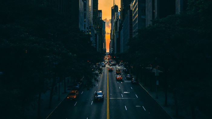 Wallpaper of Road, Traffic, Skyscrapers, Manhattan, New York background & HD image