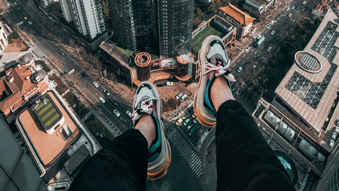 HD Wallpaper of Legs, Roof, Skyscrapers, Freedom, Overview