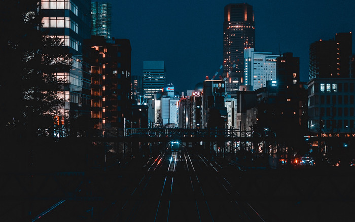 HD Wallpaper of Railway, Night, City, Buildings