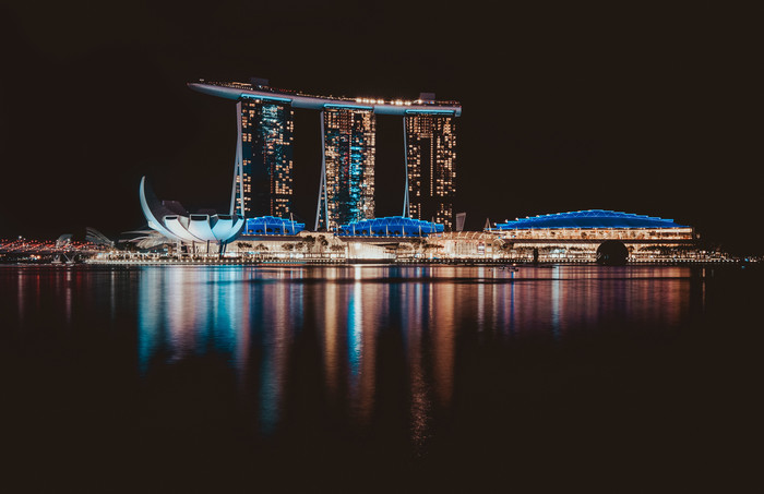 Wallpaper of Night, Singapore, Water background & HD image