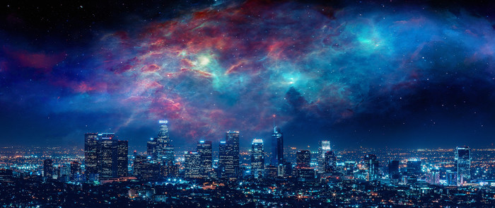 Wallpaper of Artistic, City, Los Angeles, Nebula, Night, Sky background & HD image