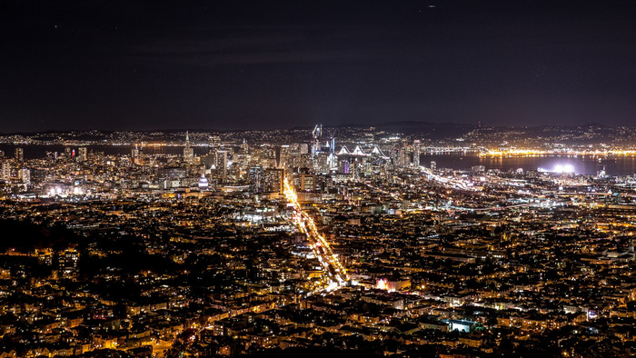 HD Wallpaper Night, City from above, Lights