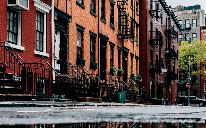 HD Wallpaper of Facade, Building, Puddle, Reflection, House