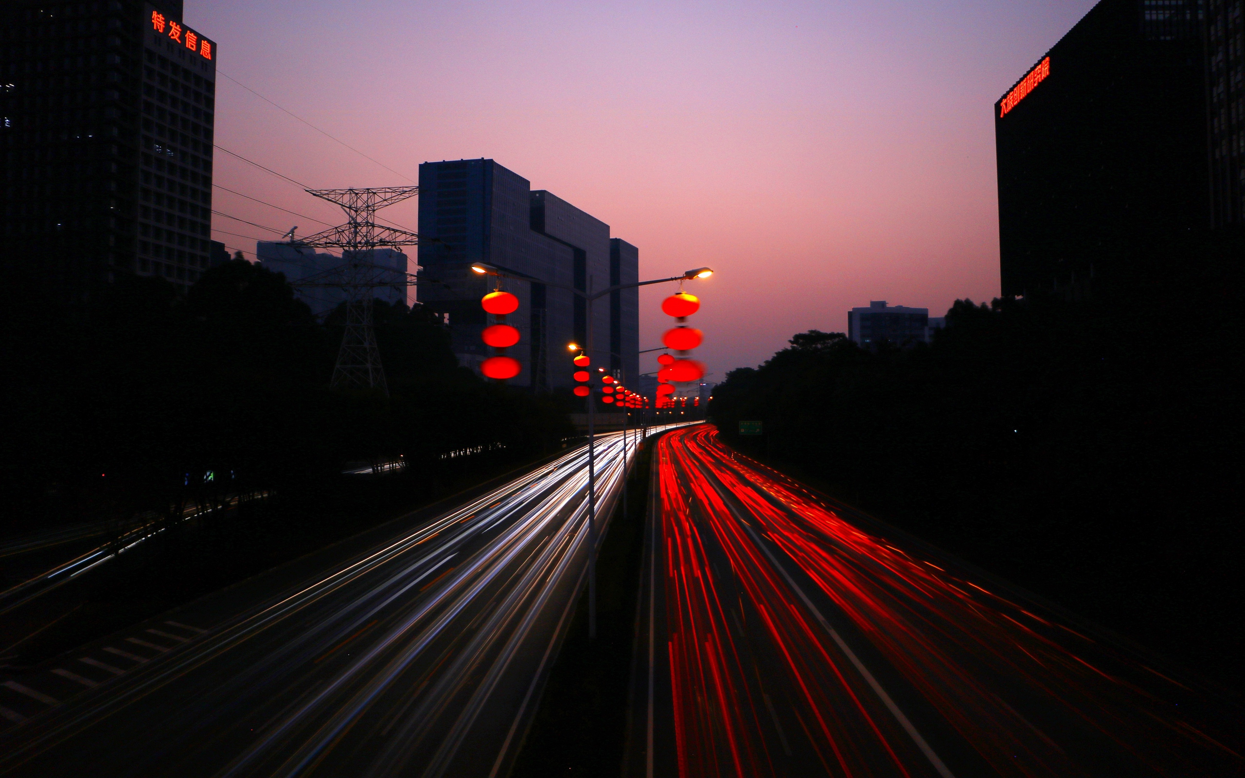 Wallpaper of Road, Night City, Light, Traffic, China background & HD image