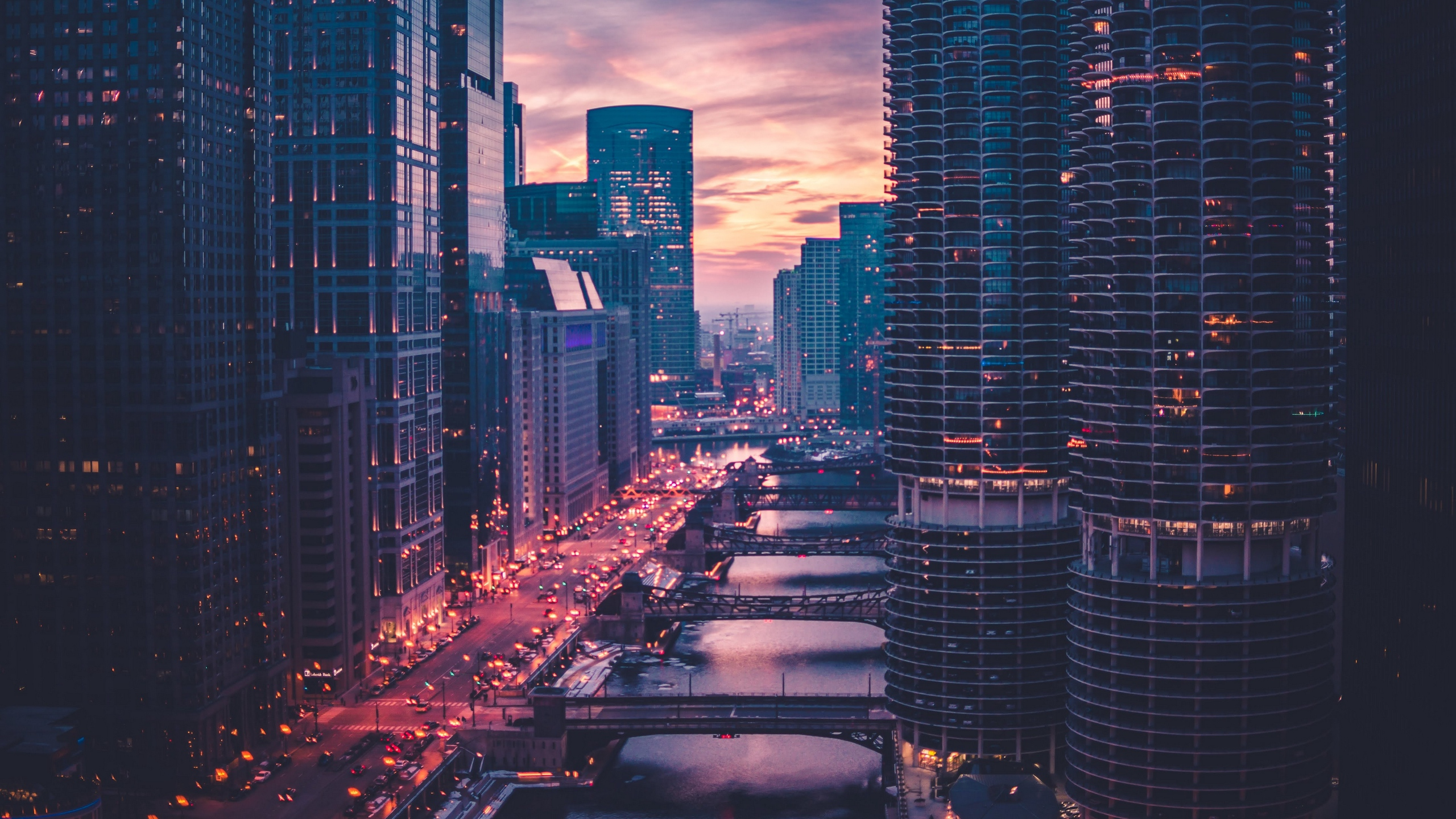 Wallpaper of Chicago, Skyscrapers, Bridges, Traffic background & HD image