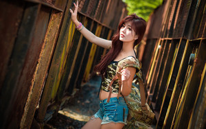 Preview wallpaper Asian, Brunette, Girl, Long Hair