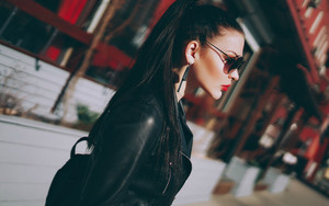 Preview wallpaper  Black, Girl, Leather, Jacket <b>Lipstick</b>, Model