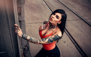 Preview wallpaper  Black Hair, Girl, <b>Lipstick</b>, Model, Tattoo, Woman