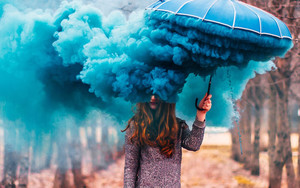Preview wallpaper Artistic, Girl, Redhead, Smoke, Umbrella