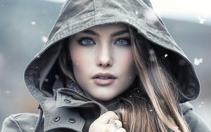 Preview wallpaper  <b>Blue</b> <b>Eyes</b>, Face, Girl, Hood, Model, Woman
