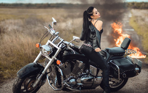 Preview wallpaper Girl, Long Hair, Model, Motorcycle, Ponytail
