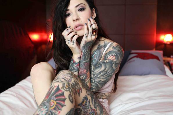 HD Wallpaper Gogo Blackwater, брюнетка, тату
