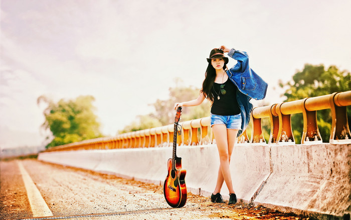 Wallpaper of Girl, Guitar, Woman background & HD image