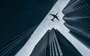 Смотреть обои Aircraft, Sky, Building, Skyscrapers