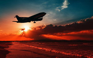 Preview wallpaper of Airplane, Sea, Sunset, Takeoff, Silhouette, Sky