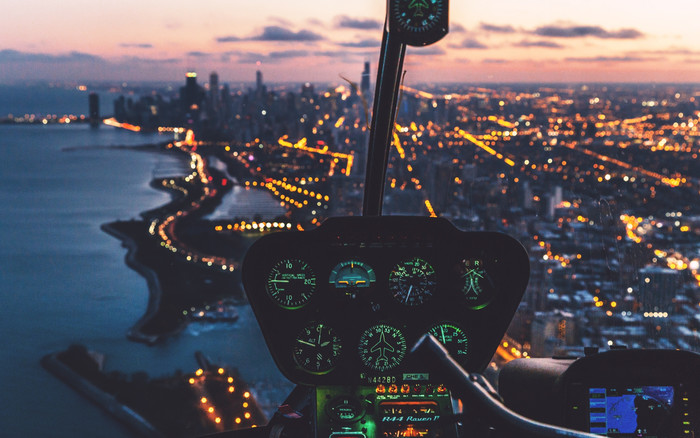 HD Wallpaper of Control Panel, Helicopter, Pilot, Night City