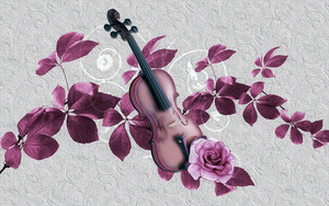 Смотреть обои Artistic, Leaf, Purple, Rose, Violin