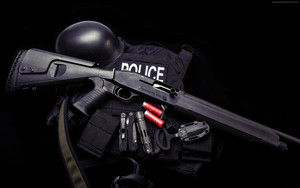 Preview wallpaper of Shotgun Mossberg930, Police, Helmet, Bullets