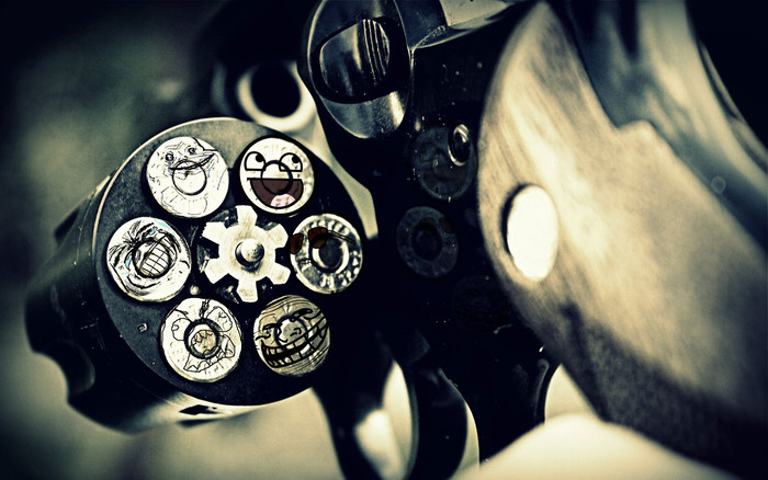 HD Wallpaper of Weapons, Revolver, Face