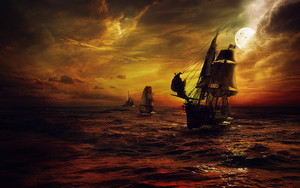 Preview wallpaper of Pirate, Ship, Night,Sea,Night, Moon,Fantasy