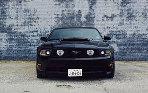 Смотреть обои Ford Mustang, Car, Black, Front View