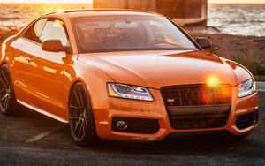 Смотреть обои Side view, Glare, Light, Audi, Orange