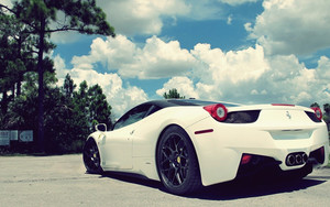 Смотреть обои Car, Vehicles, White, Ferrari 458