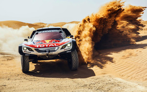 Смотреть обои Car, Desert, Peugeot, RaceCar, Rallying, Sand