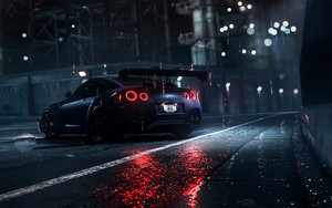Смотреть обои Nissan GT-R, Vehicle, Car, Rain